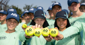 Craig Tiley and members of the AO Ballkid squad
